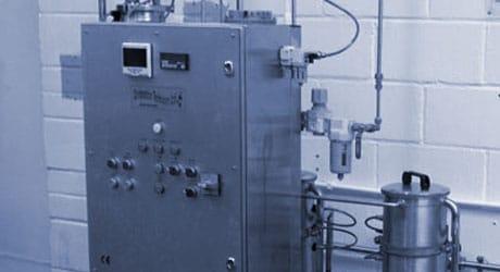 Close up on premix carbonating equipment